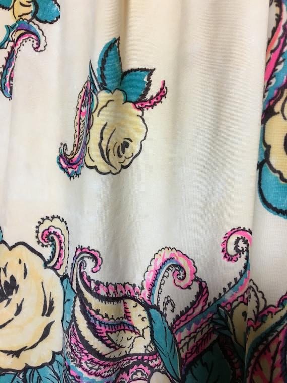 1940s Rayon Jersey Knit Printed Skirt - image 3