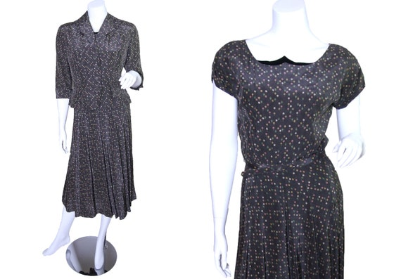 1940s Grey Cold Rayon Floral Dress with Matching J