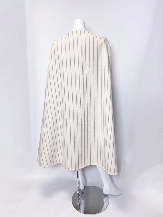 1980s Pauline Trigere Wool Stripe Dress and Cape … - image 2