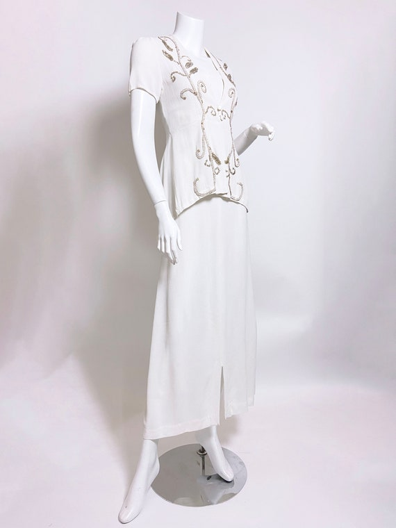 1940s White Rayon Sequin Dress and Jacket Set - image 3