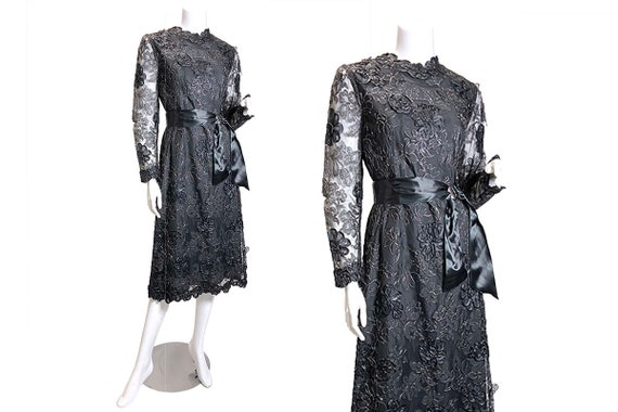1970s Pauline Trigere 3-D Floral Lace Dress - image 5