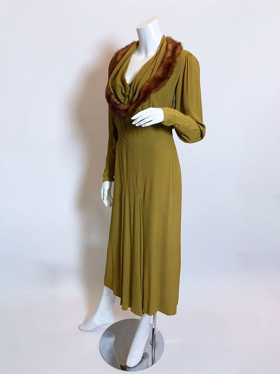 1930s Green Rayon Mink Trimmed Dress - image 2