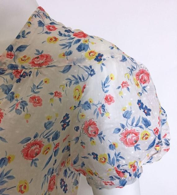 1930s Swiss Dot Cotton Floral Print Dress - image 7
