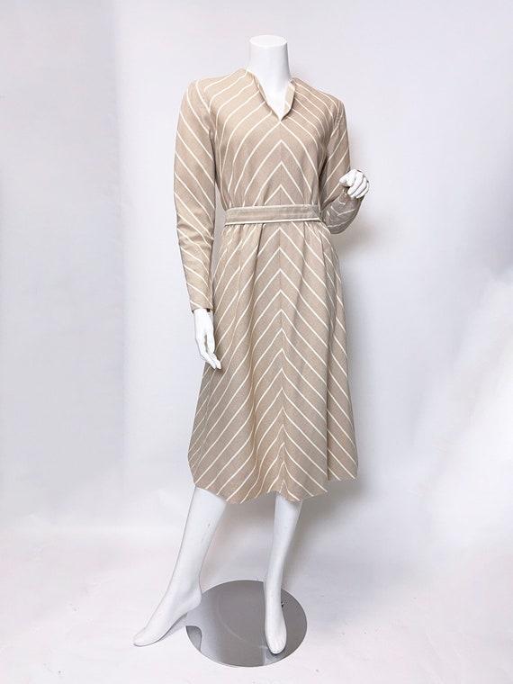 1980s Pauline Trigere Wool Stripe Dress and Cape … - image 4