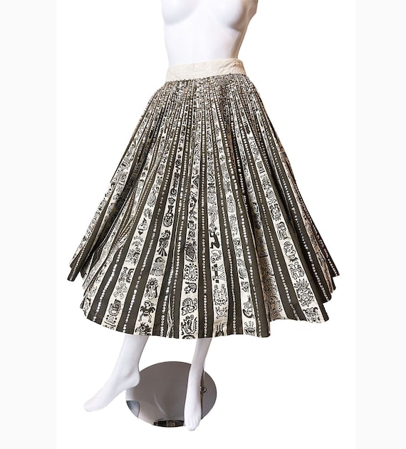 Mexican Hand Painted Skirt with Sequins