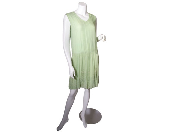 1920s Green Beaded Silk Chiffon Dress