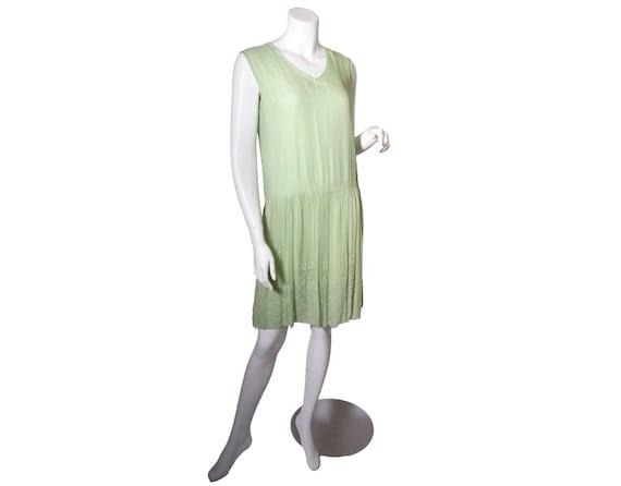 1920s Green Beaded Silk Chiffon Dress - image 1