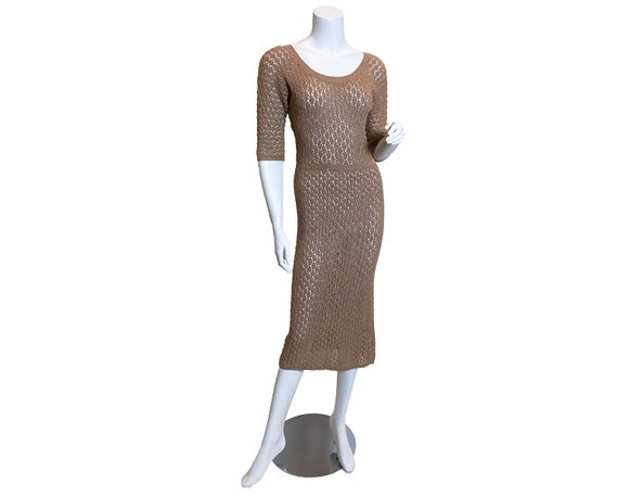 1950s Saks Fifth Avenue Beige and Gold Crochet Dre