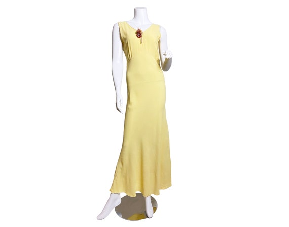 1930s Yellow Floral Rayon Bias Cut Slip Dress - image 1