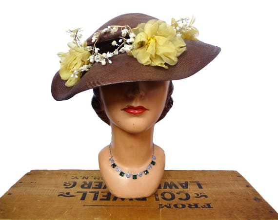 1940s Balibuntal Straw Tilt Hat with Flowers