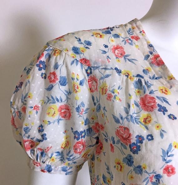 1930s Swiss Dot Cotton Floral Print Dress - image 5