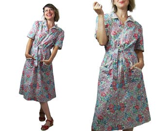 Early 1940's Happy Home Floral Print Cotton House Dress