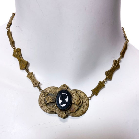 1930s Brass Silhouette Cameo Necklace