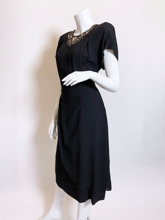 1940s Grovine Black Rayon Dress - image 2