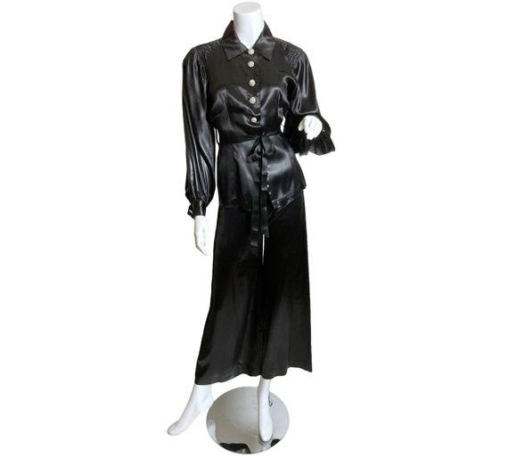 1940s Two Piece Black Satin Pant Set