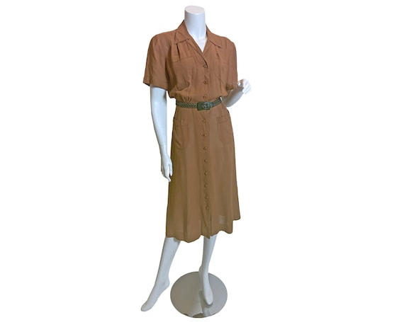 1940s L'Aiglon Cotton Voile Shirtwaist Dress