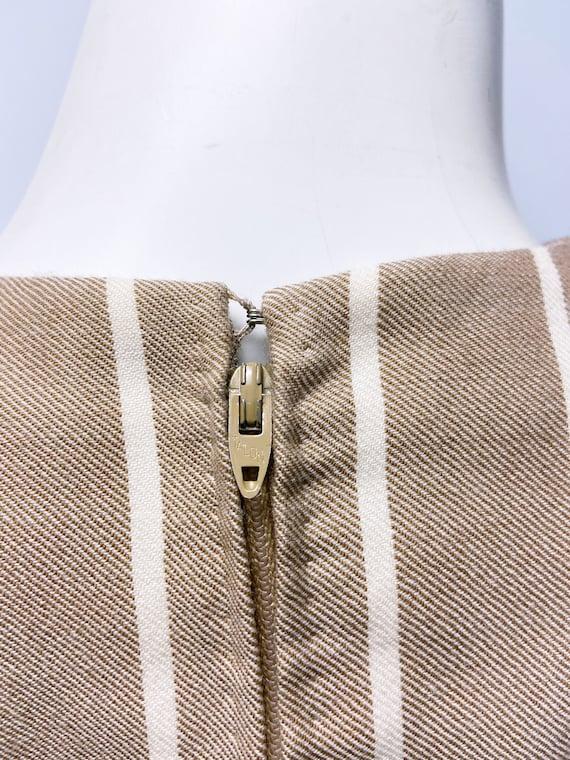 1980s Pauline Trigere Wool Stripe Dress and Cape … - image 8
