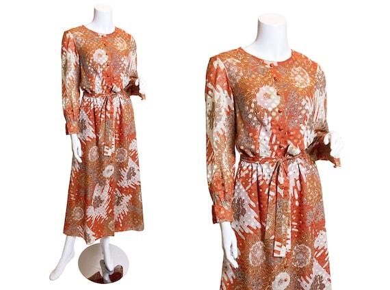 1970s Autumnal Floral Jacquard Dress