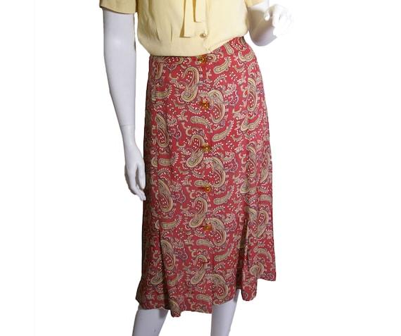 1940s Cold Rayon Paisley Skirt Skirt