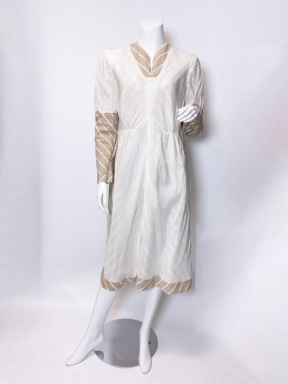 1980s Pauline Trigere Wool Stripe Dress and Cape … - image 6