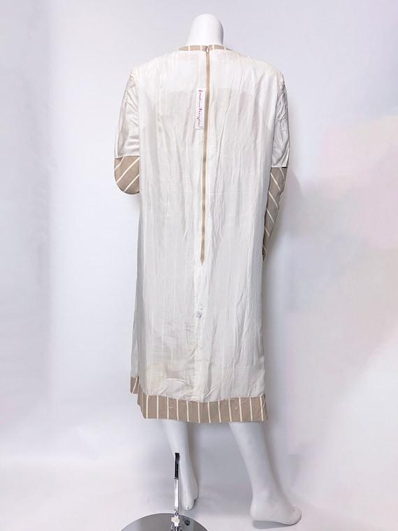 1980s Pauline Trigere Wool Stripe Dress and Cape … - image 7
