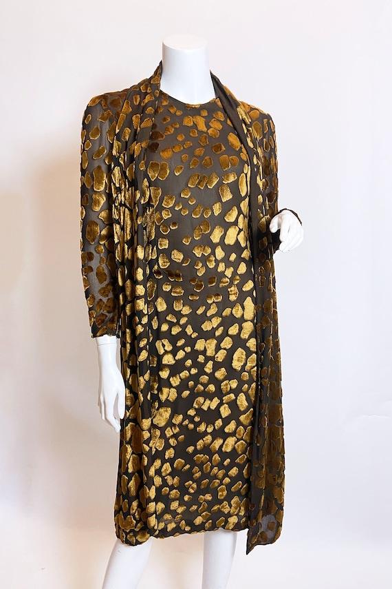 1980s Pauline Trigere Devore Velvet Scarf Dress - image 3