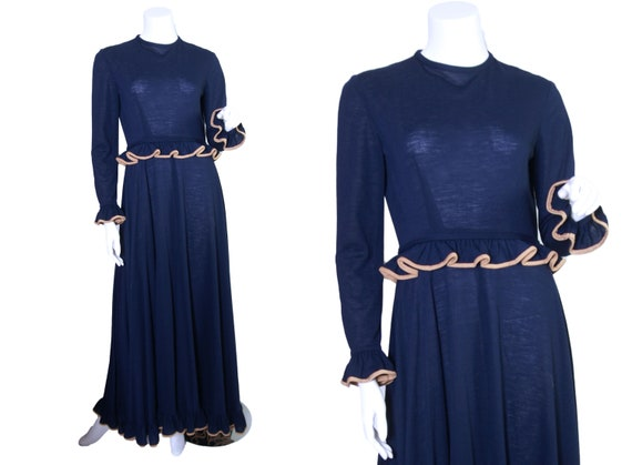 1970s Anne Fogarty Navy Blue Wool Knit Maxi Dress