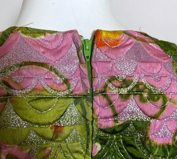 1960s  Metallic Pink Satin Brocade Dress Saks Fif… - image 9