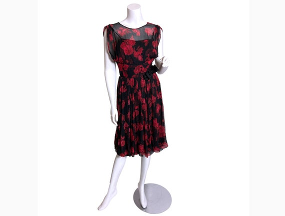 1950s Silk Chiffon Rose Print Dress