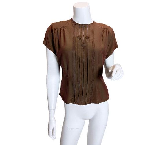 1940s Iridescent Brown Rayon Top