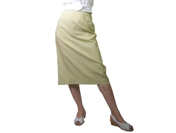 1950s Green Gingham Pencil Skirt