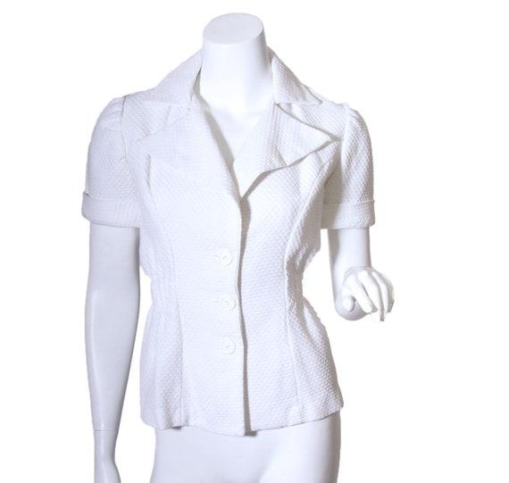 1980s does 40s White Seersucker Top Jacket