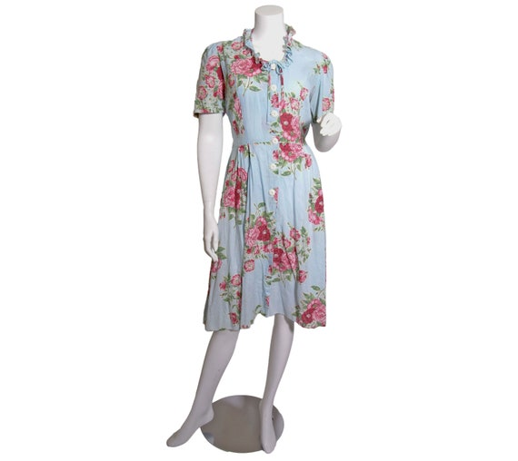 1940s Cotton Floral Print Dress