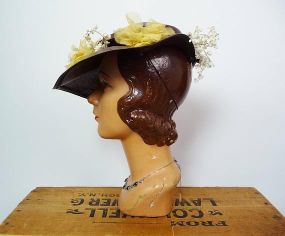 1940s Balibuntal Straw Tilt Hat with Flowers - image 3