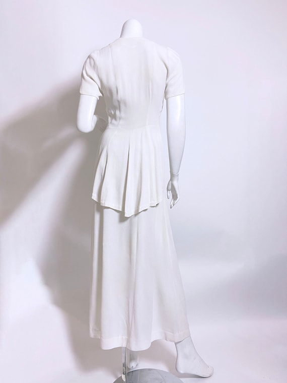 1940s White Rayon Sequin Dress and Jacket Set - image 4