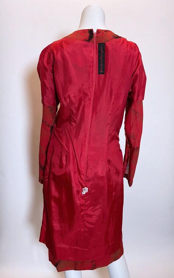 1980s Pauline Trigere Wool Printed Dress - image 7