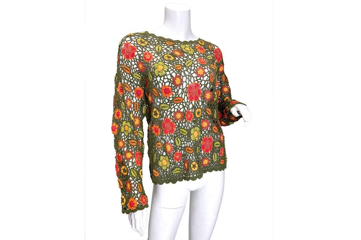 80s Dresses | Casual to Party Dresses 1980S Crochet Floral Popover Top $68.00 AT vintagedancer.com