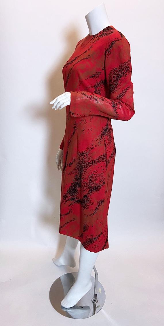 1980s Pauline Trigere Wool Printed Dress - image 2