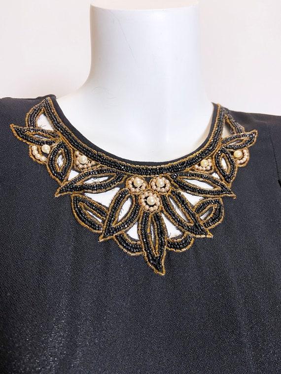1940s Grovine Black Rayon Dress - image 5