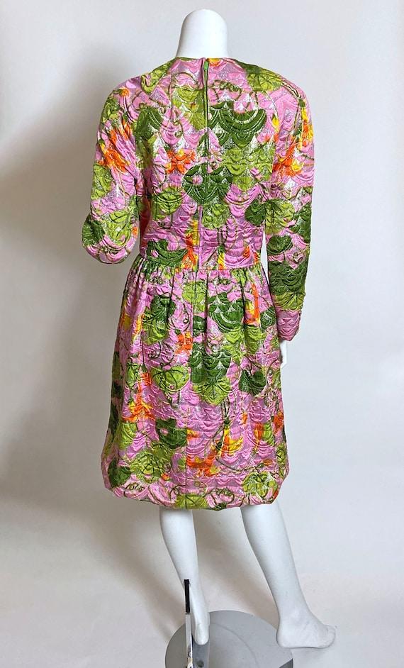 1960s  Metallic Pink Satin Brocade Dress Saks Fif… - image 5