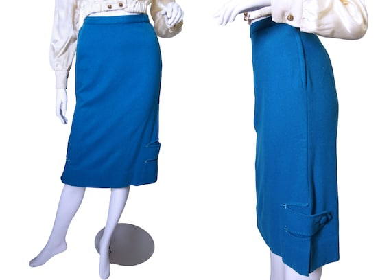 1950s to 60s Lofties by Lawrence Blue Pencil Skirt