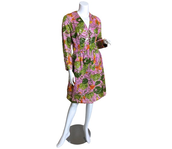1960s  Metallic Pink Satin Brocade Dress Saks Fif… - image 1