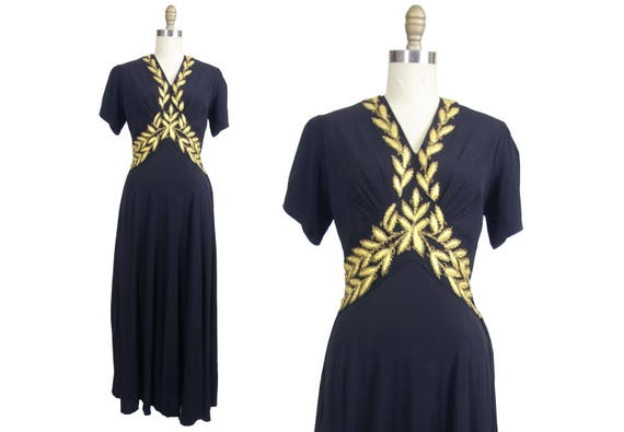 1940's Black Rayon Gown with Gold Embroidered Appl