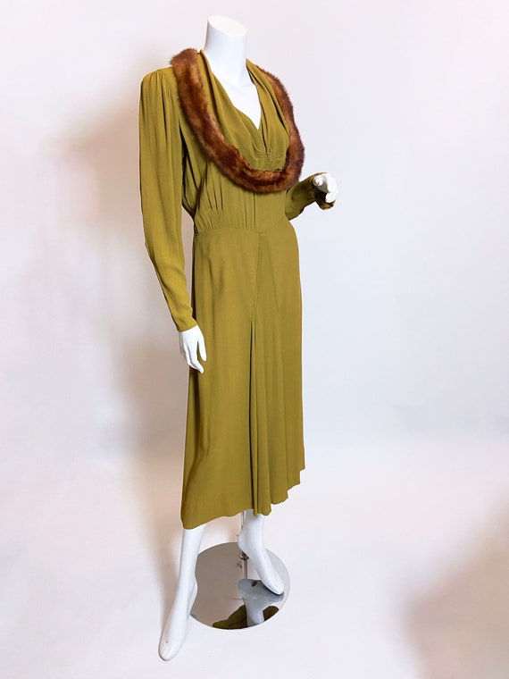 1930s Green Rayon Mink Trimmed Dress - image 4