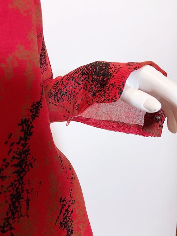 1980s Pauline Trigere Wool Printed Dress - image 5