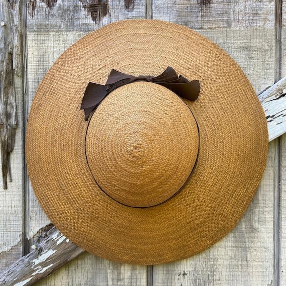 1940s Natural Straw Wide Brim Sun Hat - image 3