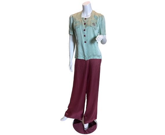 1940s Silk Seraphim Pajamas