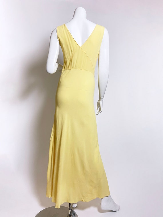 1930s Yellow Floral Rayon Bias Cut Slip Dress - image 3