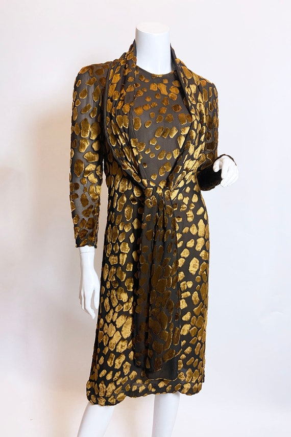 1980s Pauline Trigere Devore Velvet Scarf Dress - image 4
