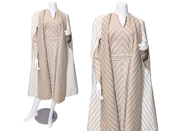1980s Pauline Trigere Wool Stripe Dress and Cape S
